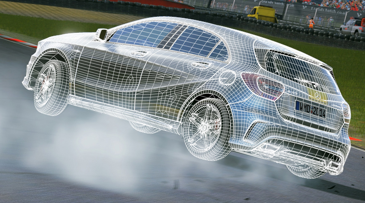 Image of Mercedes-Benz A45 AMG wireframe; 3D model by Jean-François Bouchard